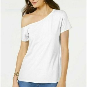 INC XL White One Cold Shoulder Tee Shirt 3Y13